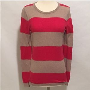 Old Navy Cranberry & Tan Sweater with Elbow Patch